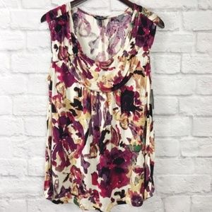 Daisy Fuentes Watercolor Floral Sleeveless Top L